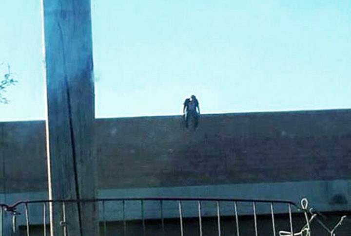 Police Prevent Potential 118 Freeway Overpass Jumper From Jumping!